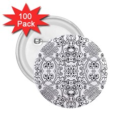 Black Psychedelic Pattern 2 25  Buttons (100 Pack)