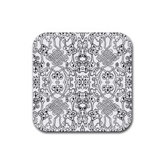 Black Psychedelic Pattern Rubber Coaster (square)