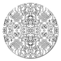 Black Psychedelic Pattern Magnet 5  (round)