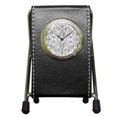 Black Psychedelic Pattern Pen Holder Desk Clocks