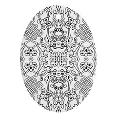 Black Psychedelic Pattern Oval Ornament (two Sides)