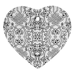 Black Psychedelic Pattern Heart Ornament (two Sides)