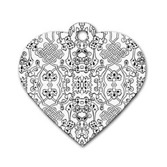 Black Psychedelic Pattern Dog Tag Heart (two Sides)