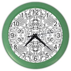 Black Psychedelic Pattern Color Wall Clocks