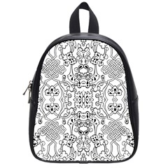 Black Psychedelic Pattern School Bag (small)