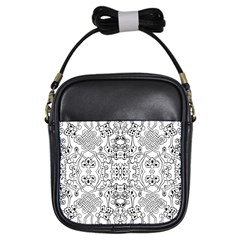 Black Psychedelic Pattern Girls Sling Bags