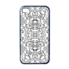 Black Psychedelic Pattern Apple Iphone 4 Case (black)