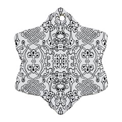 Black Psychedelic Pattern Ornament (snowflake)