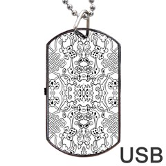 Black Psychedelic Pattern Dog Tag Usb Flash (two Sides)