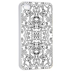 Black Psychedelic Pattern Apple Iphone 4/4s Seamless Case (white)