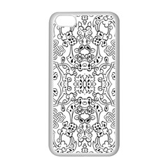 Black Psychedelic Pattern Apple Iphone 5c Seamless Case (white)