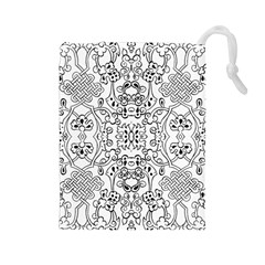 Black Psychedelic Pattern Drawstring Pouches (large)