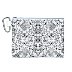 Black Psychedelic Pattern Canvas Cosmetic Bag (l)