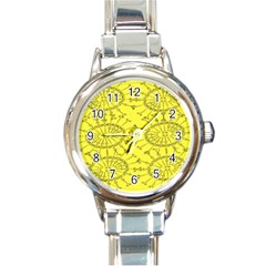 Yellow Flower Floral Circle Sexy Round Italian Charm Watch