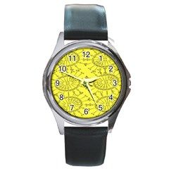 Yellow Flower Floral Circle Sexy Round Metal Watch