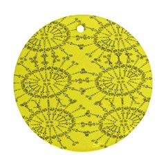 Yellow Flower Floral Circle Sexy Ornament (round)