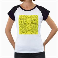 Yellow Flower Floral Circle Sexy Women s Cap Sleeve T