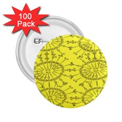 Yellow Flower Floral Circle Sexy 2 25  Buttons (100 Pack)