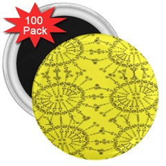 Yellow Flower Floral Circle Sexy 3  Magnets (100 Pack)