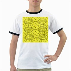 Yellow Flower Floral Circle Sexy Ringer T Shirts
