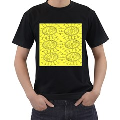 Yellow Flower Floral Circle Sexy Men s T Shirt (black) (two Sided)