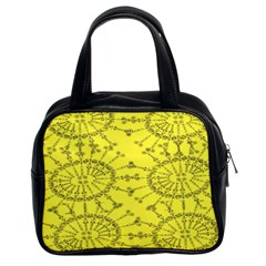 Yellow Flower Floral Circle Sexy Classic Handbags (2 Sides)