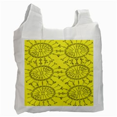 Yellow Flower Floral Circle Sexy Recycle Bag (two Side)