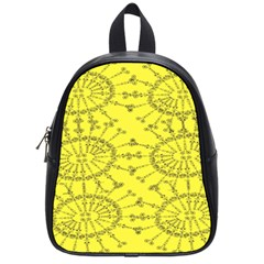 Yellow Flower Floral Circle Sexy School Bag (small)