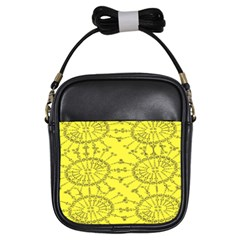Yellow Flower Floral Circle Sexy Girls Sling Bags