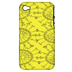 Yellow Flower Floral Circle Sexy Apple Iphone 4/4s Hardshell Case (pc+silicone)
