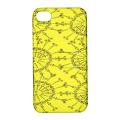 Yellow Flower Floral Circle Sexy Apple Iphone 4/4s Hardshell Case With Stand