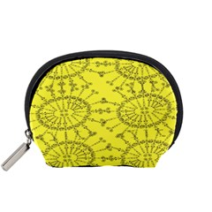 Yellow Flower Floral Circle Sexy Accessory Pouches (small)