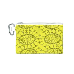 Yellow Flower Floral Circle Sexy Canvas Cosmetic Bag (s)