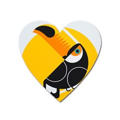 Cute Toucan Bird Cartoon Yellow Black Heart Magnet