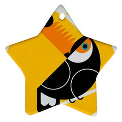Cute Toucan Bird Cartoon Yellow Black Star Ornament (two Sides)