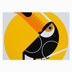 Cute Toucan Bird Cartoon Yellow Black Large Glasses Cloth