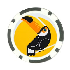 Cute Toucan Bird Cartoon Yellow Black Poker Chip Card Guard (10 Pack)