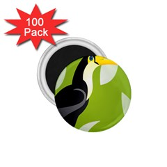 Cute Toucan Bird Cartoon Fly Yellow Green Black Animals 1 75  Magnets (100 Pack)