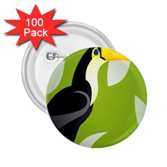 Cute Toucan Bird Cartoon Fly Yellow Green Black Animals 2 25  Buttons (100 Pack)