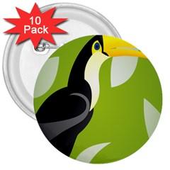 Cute Toucan Bird Cartoon Fly Yellow Green Black Animals 3  Buttons (10 Pack)