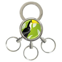 Cute Toucan Bird Cartoon Fly Yellow Green Black Animals 3 Ring Key Chains