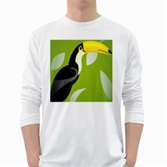Cute Toucan Bird Cartoon Fly Yellow Green Black Animals White Long Sleeve T Shirts