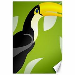 Cute Toucan Bird Cartoon Fly Yellow Green Black Animals Canvas 12  X 18