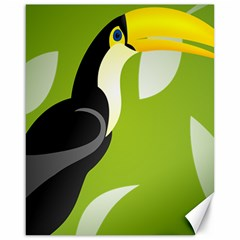 Cute Toucan Bird Cartoon Fly Yellow Green Black Animals Canvas 16  X 20