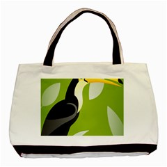 Cute Toucan Bird Cartoon Fly Yellow Green Black Animals Basic Tote Bag (two Sides)