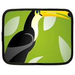 Cute Toucan Bird Cartoon Fly Yellow Green Black Animals Netbook Case (xxl)