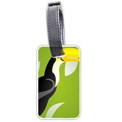 Cute Toucan Bird Cartoon Fly Yellow Green Black Animals Luggage Tags (two Sides)