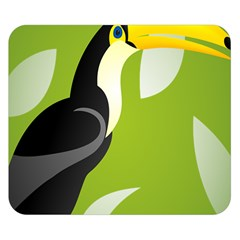 Cute Toucan Bird Cartoon Fly Yellow Green Black Animals Double Sided Flano Blanket (small)