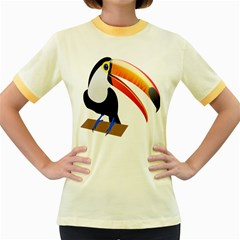 Cute Toucan Bird Cartoon Fly Women s Fitted Ringer T Shirts