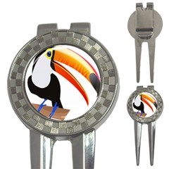 Cute Toucan Bird Cartoon Fly 3 In 1 Golf Divots